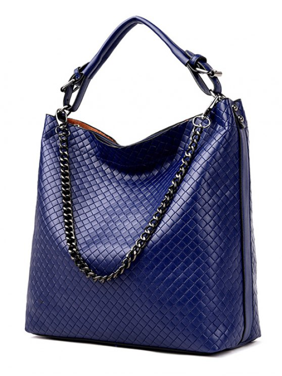 Argyle Double Buckle Chain Tote Bag - BLUE  Mobile