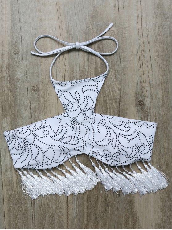 Tassels Halter Printed String Bikini - WHITE M Mobile