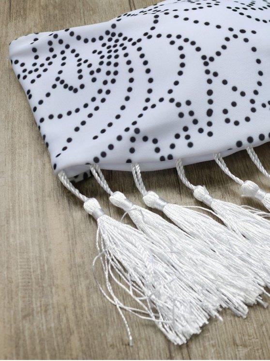 Tassels Halter Printed String Bikini - WHITE S Mobile