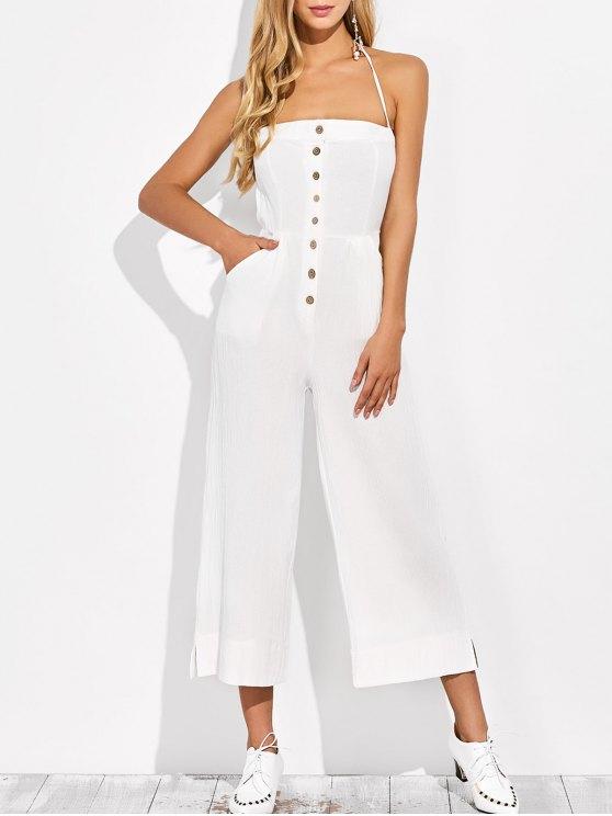 Backless Wide Leg Jumpsuit - Blanc XL
