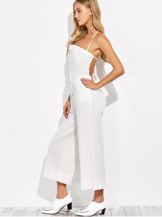 Backless Wide Leg Jumpsuit - WHITE M Mobile