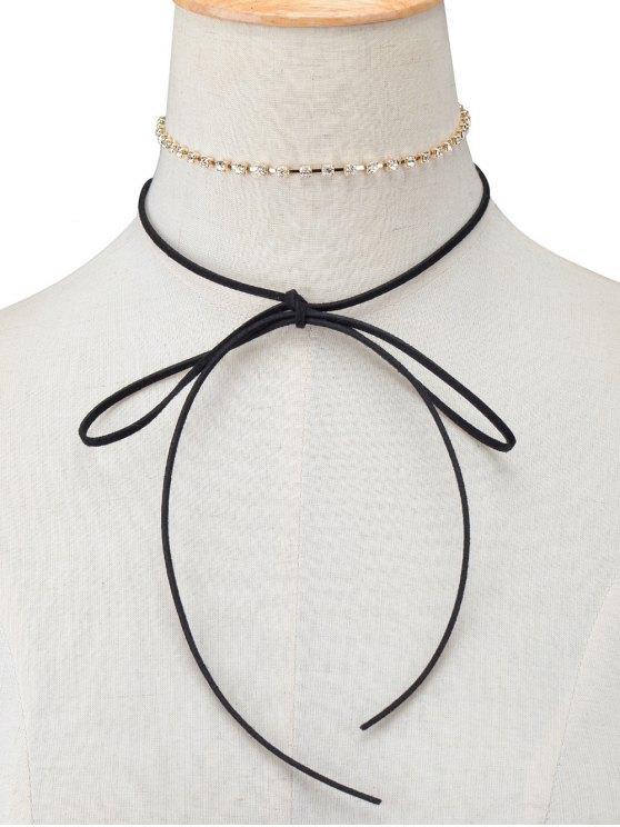 womens Velvet Bowknot Rhinestone Choker Necklace Set - BLACK