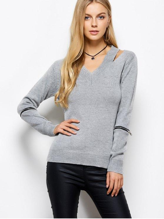 Cremallera cuello en V suéter - Gris M