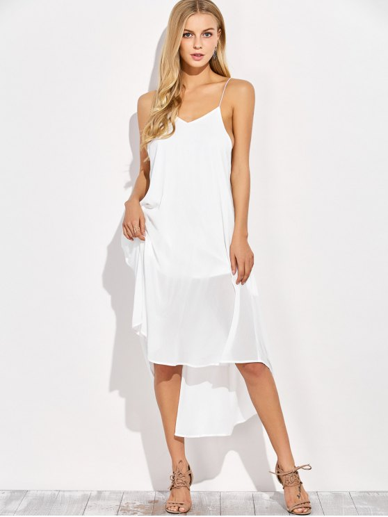Sexy Backless High Low Slip Dress - WHITE 2XL Mobile