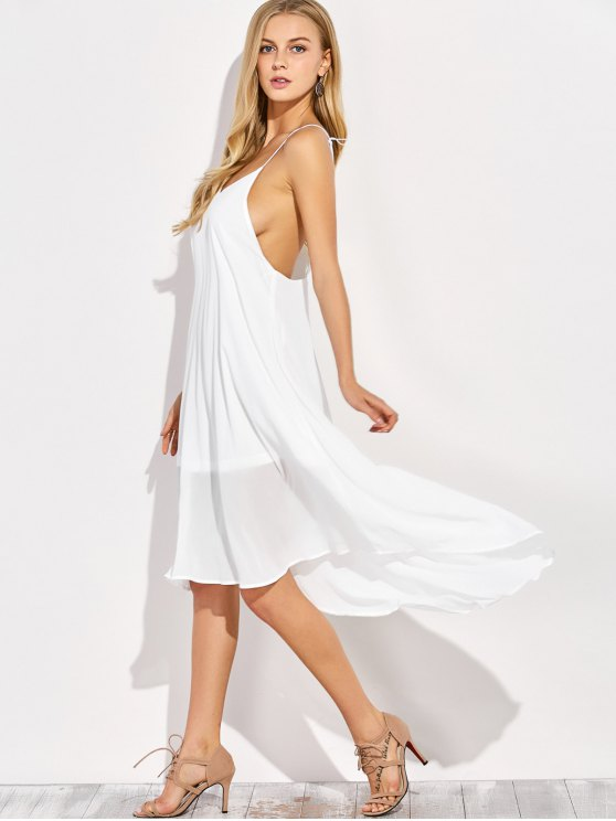 Sexy Backless High Low Slip Dress - WHITE L Mobile