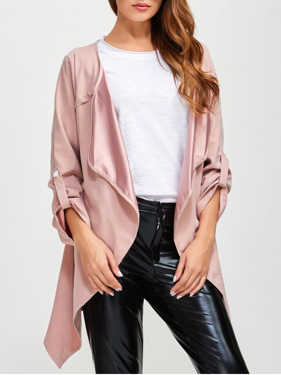 Drape Front Coat - PINK 3XL Mobile