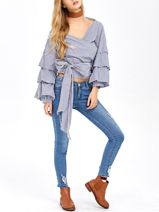 Layered Sleeve Striped Wrap Blouse - BLUE AND WHITE XL Mobile