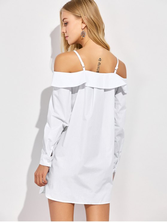 Cold Shoulder Button Up Blouse - WHITE M Mobile