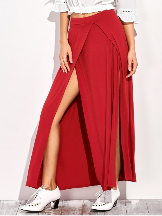 lady Double Split Maxi Skirt - RED L