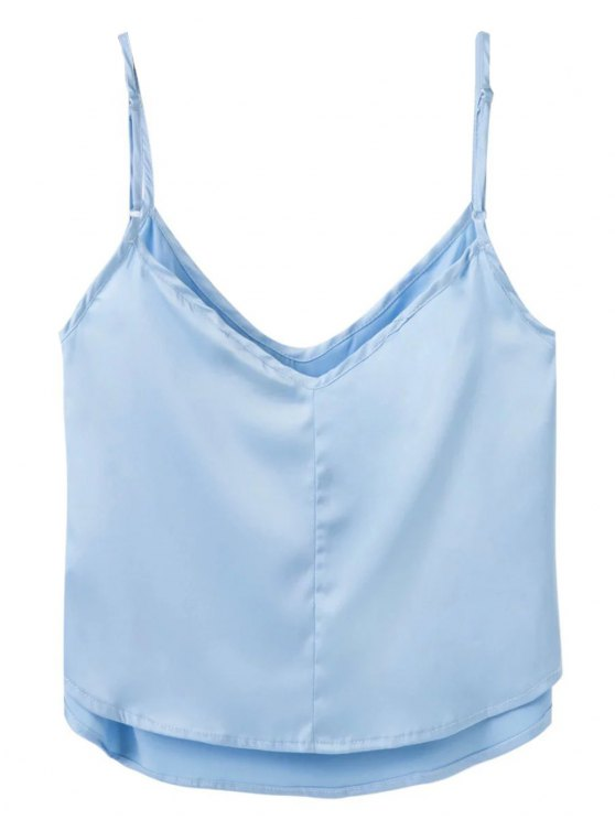 Adjusted Satin Camisole - LIGHT BLUE M Mobile