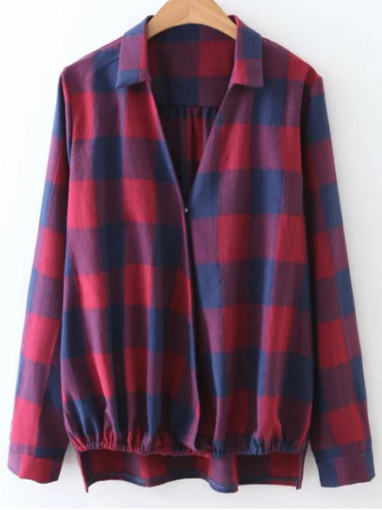 Checked V Neck High Low Blouse - PLAID M Mobile