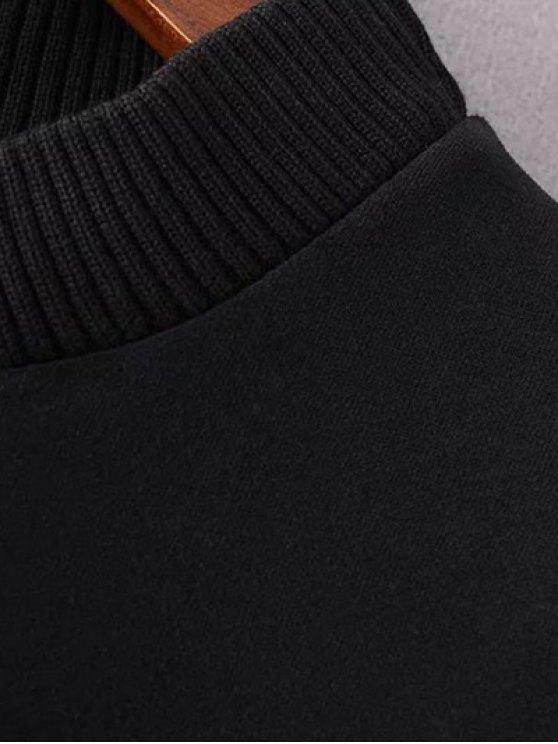 Mock Neck Color Block Sweatshirt - BLACK AND GREY M Mobile