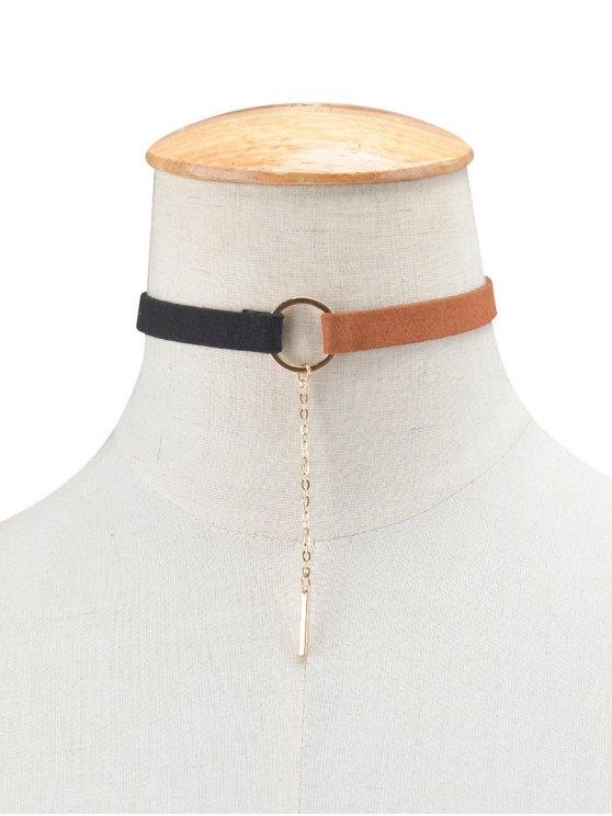 Chain Tassel Circle Velvet Choker - BLACK AND BROWN  Mobile