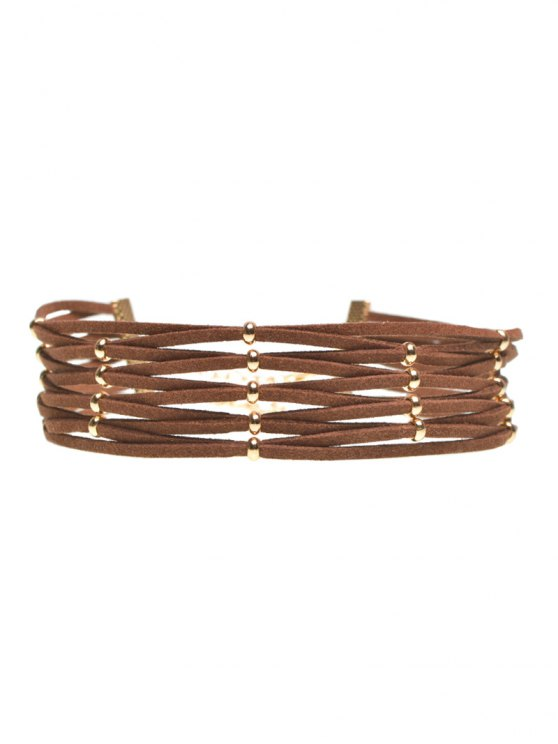 Velvet Band Interweave Layered Choker - BROWN  Mobile