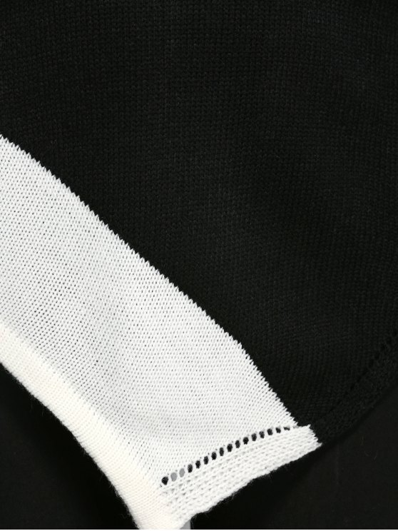 Asymmetric Slash Neck Knitwear - WHITE AND BLACK XL Mobile