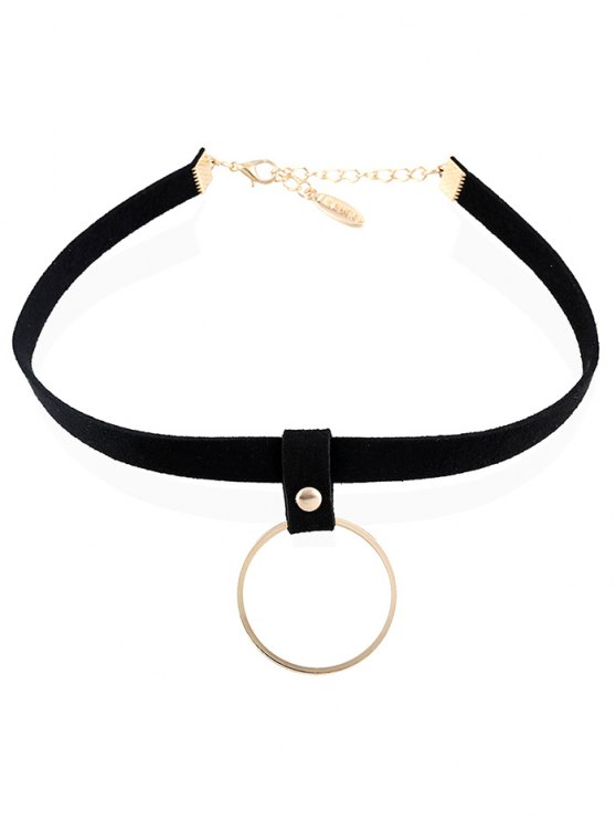 Ring Pendant Velvet Choker - CHAMPAGNE  Mobile