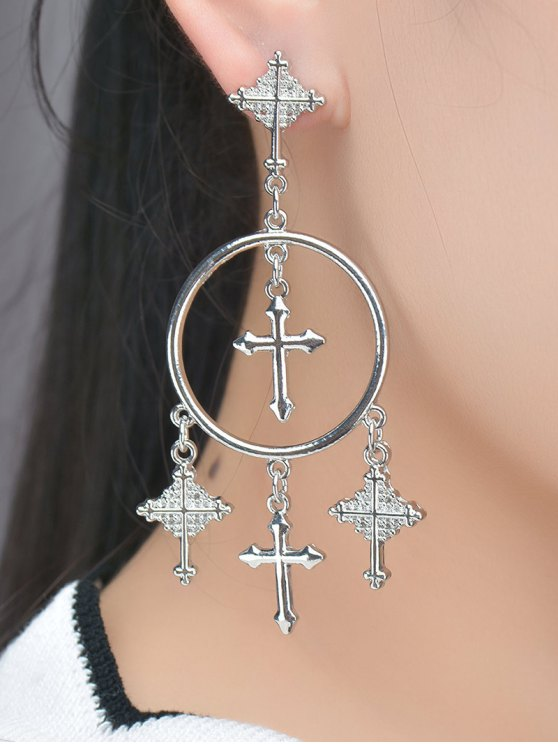 outfit Crosses Tassel Round Drop Earrings - SILVER