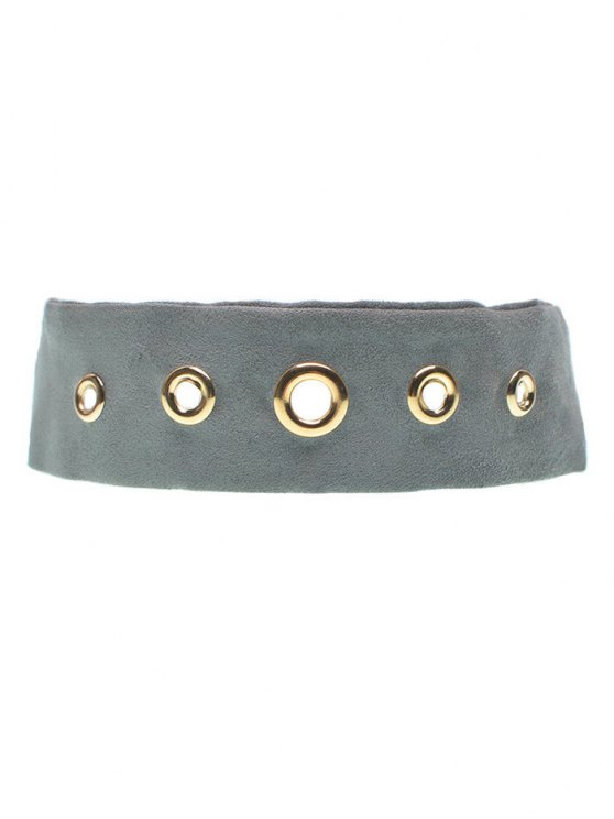Suede Rivet Choker Necklace - GRAY  Mobile