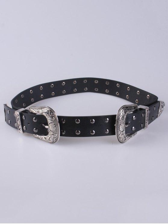 Rivet Double Buckle Belt - BLACK  Mobile