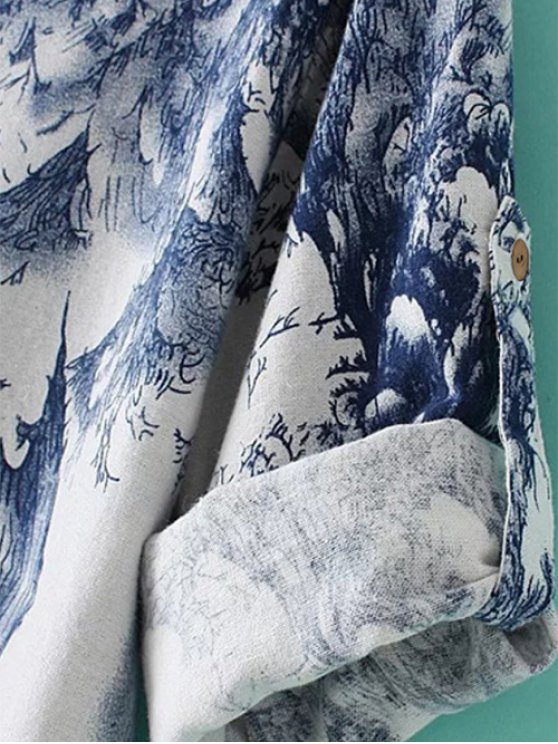 Linen Blend Chinese Painting Dress - BLUE AND WHITE ONE SIZE Mobile