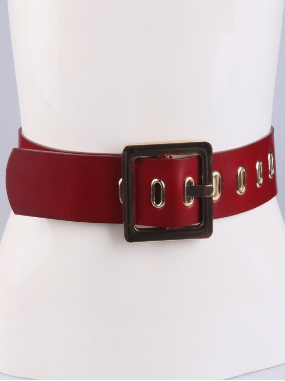 Square Buckle Belt - RED  Mobile