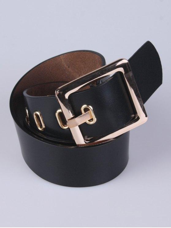 Square Buckle Belt - BLACK  Mobile