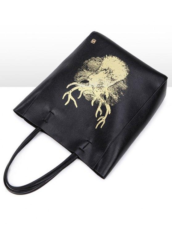 Deer Printed Colour Block Snaps Shoulder Bag -   Mobile