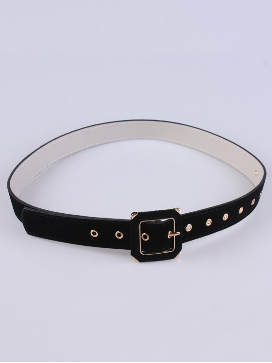 Square Buckle Velvet Belt - BLACK  Mobile