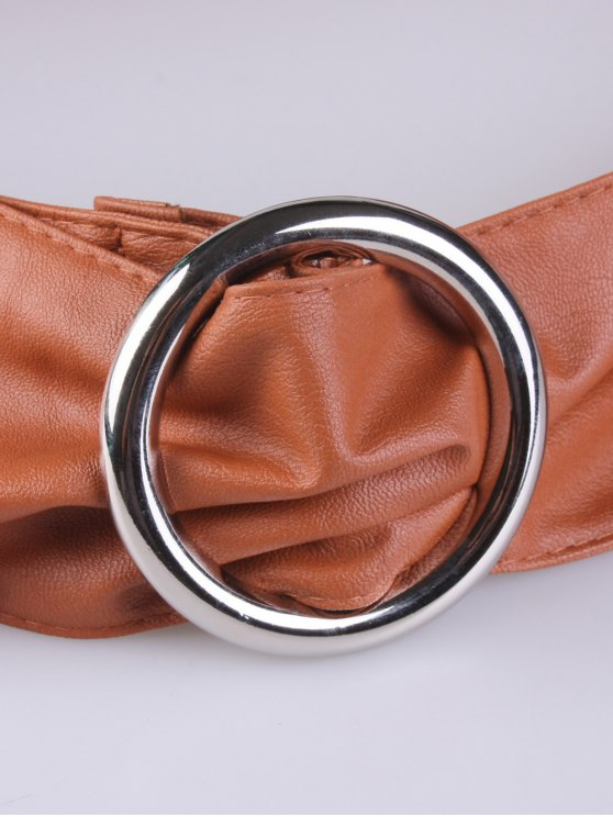 Alloy Ring PU Belt - ANTIQUE BROWN  Mobile