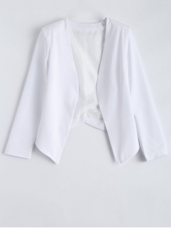 Collarless Open Front Blazer - WHITE XL Mobile