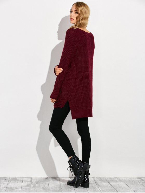 Crew Neck Ripped Chunky High Low Sweater - WINE RED XL Mobile