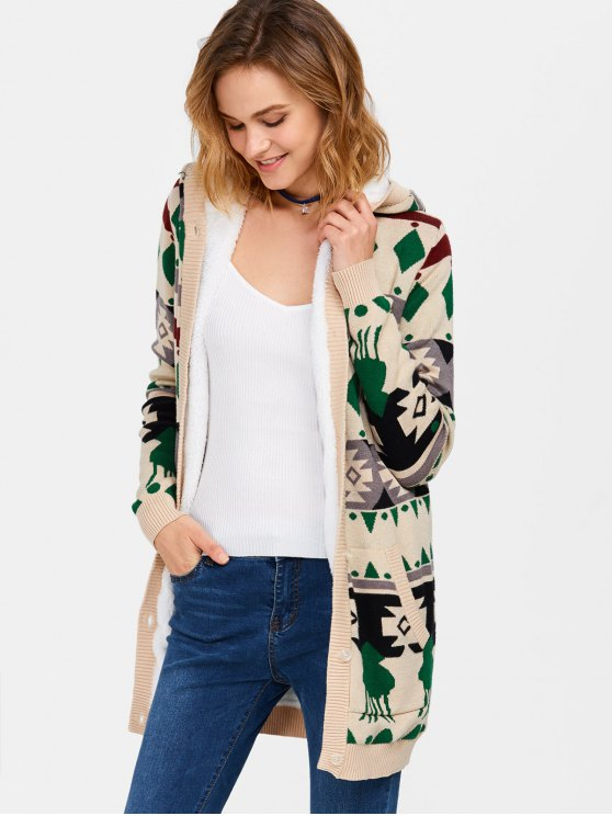 Hooded Fleece Geometric Cardigan - PALOMINO L Mobile