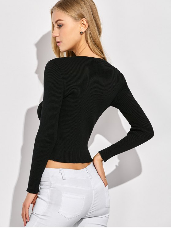 Ribbed Lace Up Jumper - BLACK XL Mobile