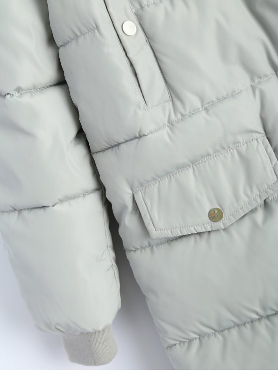 Hooded Quilted Padded Coat - GRAY L Mobile