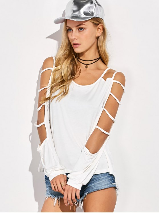Scoop Neck Cutout Sleeve T-Shirt - WHITE L Mobile