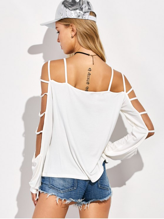 Scoop Neck Cutout Sleeve T-Shirt - WHITE 2XL Mobile