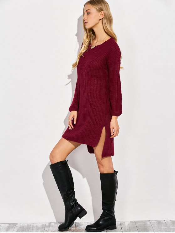 High-Low Knitting Dress - WINE RED ONE SIZE Mobile