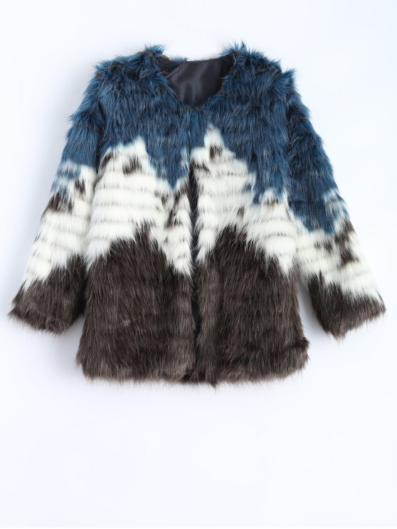 women Color Block Faux Fur Coat - MULTICOLOR XL