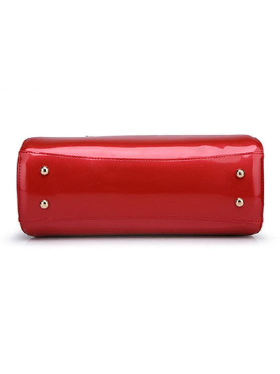 Patent Leather Metal Trimmed Handbag -   Mobile