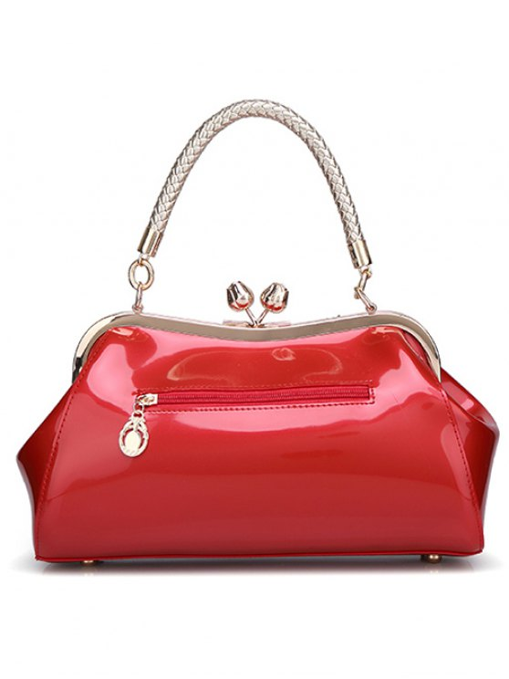 Patent Leather Metal Trimmed Handbag - GOLDEN  Mobile