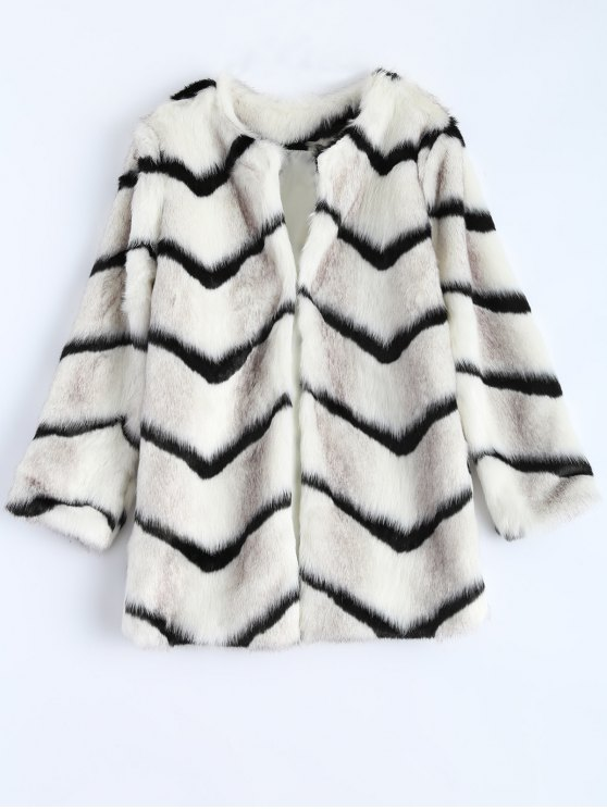 best Zig Zag Faux Fur Coat - WHITE ONE SIZE