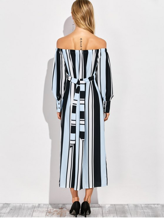 Vertical Stripe Off The Shoulder Maxi Dress - COLORMIX L Mobile