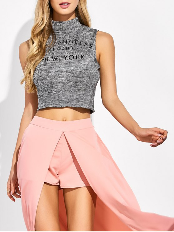 High Neck Cropped Tank Top - GRAY S Mobile