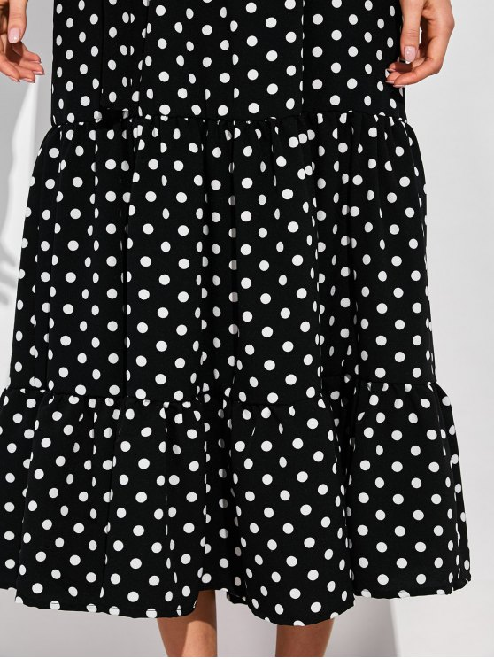 Ruffles Polka Dot Off Shoulder Maxi Dress - BLACK L Mobile