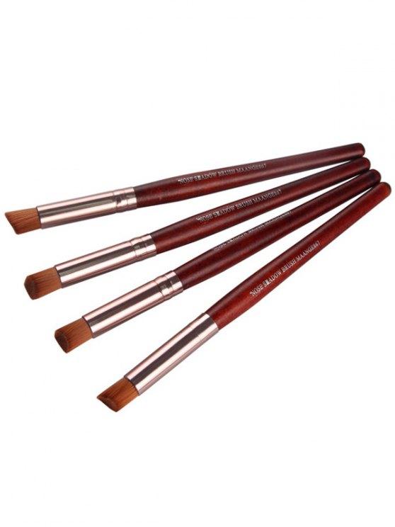 4 Pcs Angled Eye Makeup Brushes Set - RED  Mobile