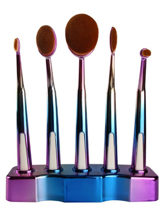 5 Pcs Ombre Toothbrush Shape Makeup Brushes Set with Holder - BLUE  Mobile