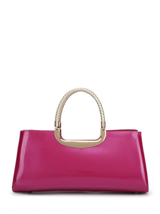 Braid Patent Leather Handbag - ROSE RED  Mobile
