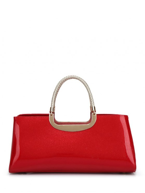 Braid Patent Leather Handbag - RED  Mobile