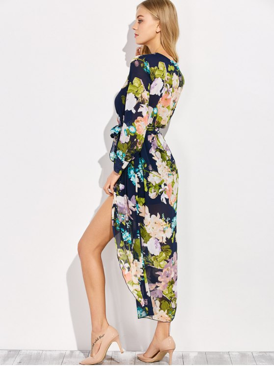Floral V Neck Asymmetric Surplice Maxi Dress - FLORAL L Mobile