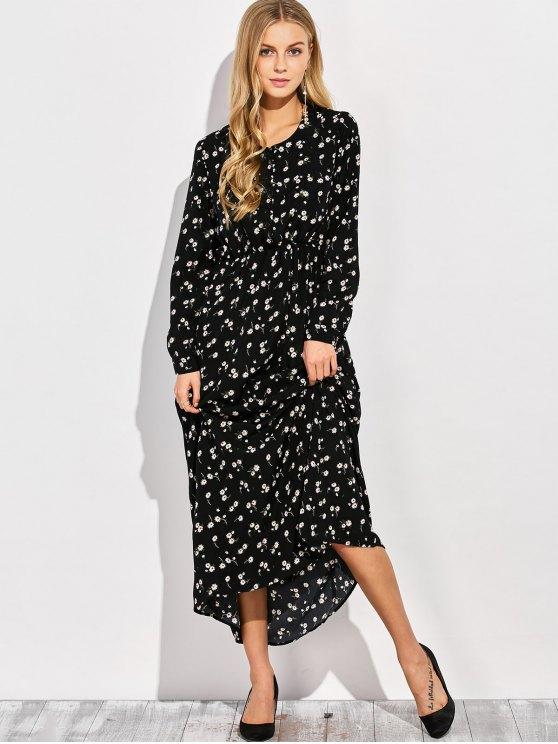 Scoop Neck Tiny Flower Maxi Shirt Dress - BLACK S Mobile